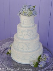 Carolina blue piping on wedding cake