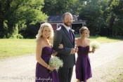 Bridesmaids escorted by groomsman