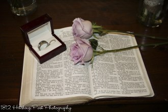 Roses and rings on Bible