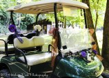Golf carts decorated to transport guests