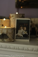 Birch candles and childhood photos