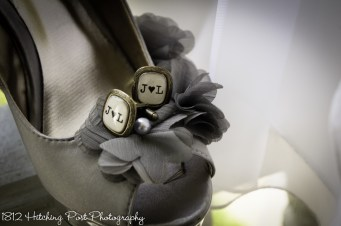 Bride's shoes and groom's cuff links