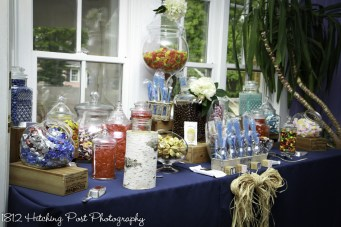 Candy bar with the couple's favorite candies and rustic theme