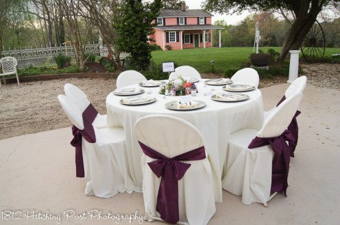 Cream with plum sashes and silver overlay