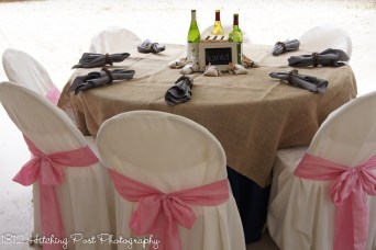 Gray napkins with navy, pink, and burlap