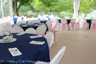 Navy with pink sashes