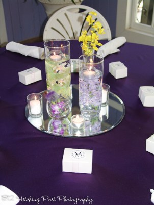 Deep Purple with floating candle centerpiece