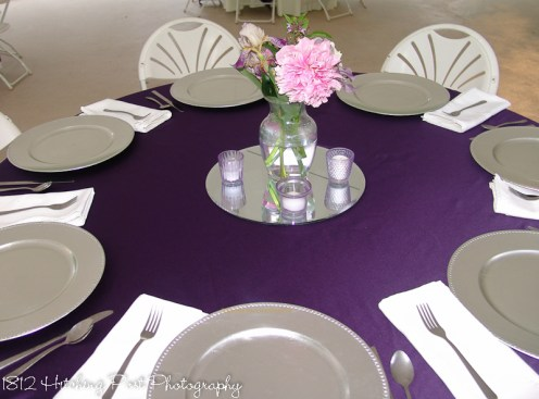 Deep Purple with Silver Chargers