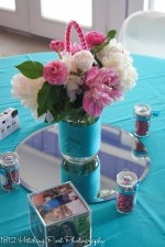 Turqoise with pink and white peonies