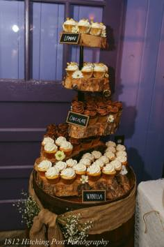 Cupcakes on rustic stand