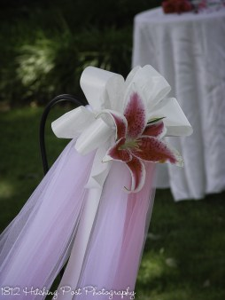 Pink and white tulle and ribbons with stargazer lily