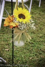 Sunflowers, babies breath combined with silk fall leaves