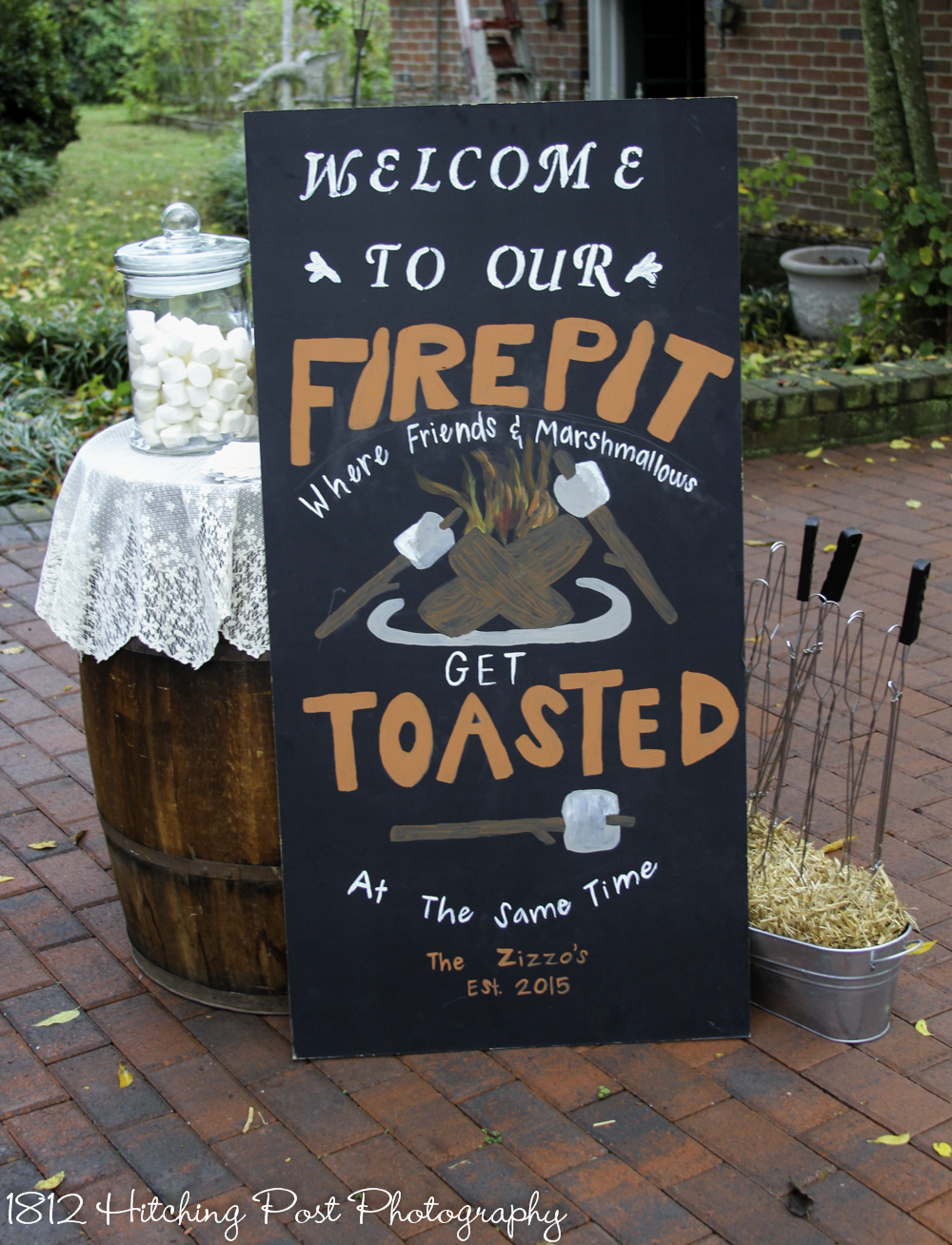Get toasted sign by firepit