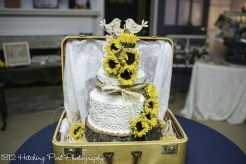 Sunflower cake in a suitcase