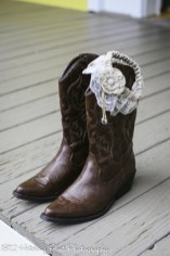 Bride's boots and garter