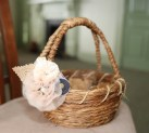 Rustic basket with neutral and navy accents