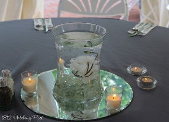 Submerged flowers with candles