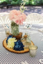 Pink and blue mason jar arrangement