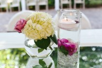 Submerged flower with floating candle