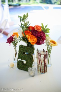 Live flowers; cylinder vase lined with submerged sticks
