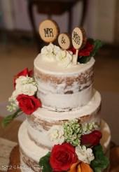 "Naked but not ""too"" naked wedding cake"