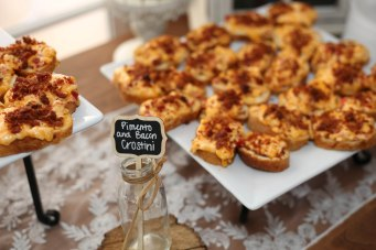 Crostini with pimento cheese and bacon