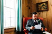Reading a letter from the bride