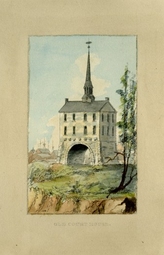 Baltimore Courthouse from J.H.B. Latrobe's Picture of Baltimore (1832). Johns Hopkins University Sheridan Libraries, F 189.B1 P53 1842 QUARTO.