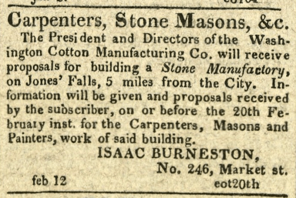 Advertisement: Washington Cotton Manufacturing Co. will receive proposals for building a Stone Manufactory