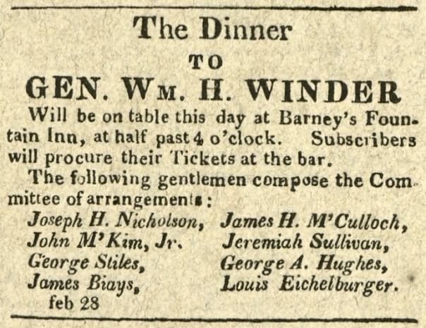 Advertisement: The Dinner to Gen. Wm. H. Winder