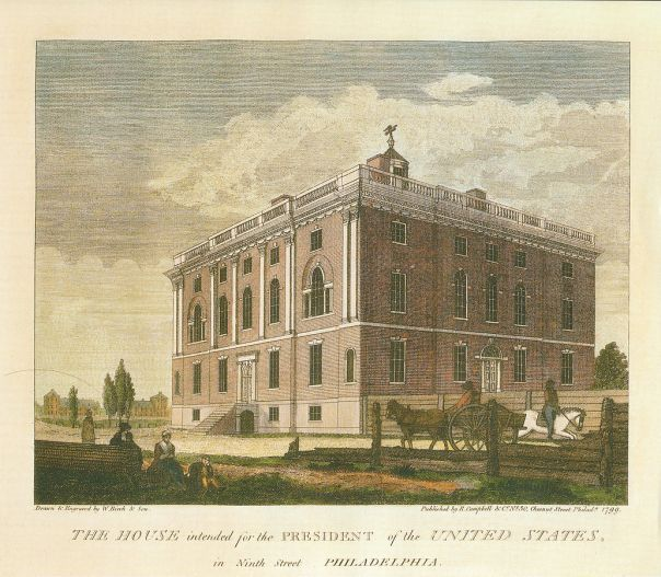 House intended for the President, Birch's Views of Philadelphia (1800), occupied by the University of Pennsylvania from 1801 to 1829. Courtesy Wikimedia.