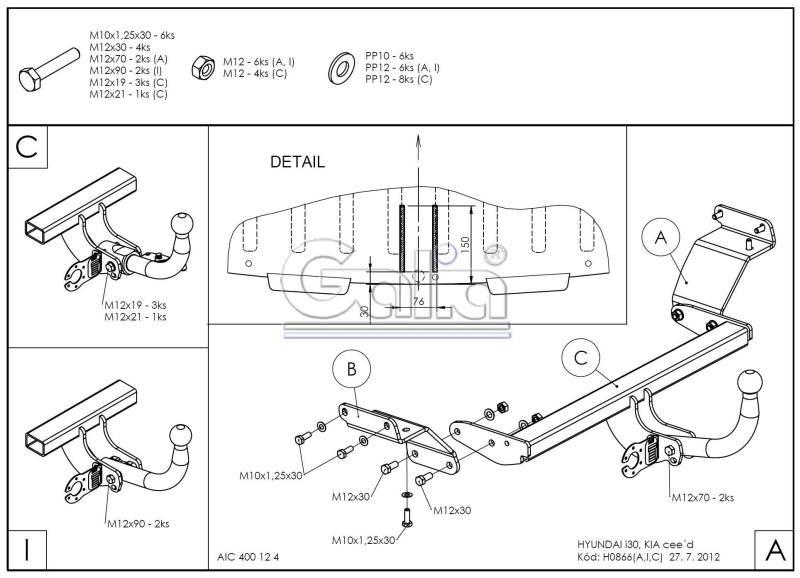 Tažné zařízení Hyundai i30 HB 2012-, pevný čep 2 šrouby