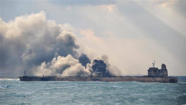 Image result for Oil tanker still ablaze, search for missing crew continues