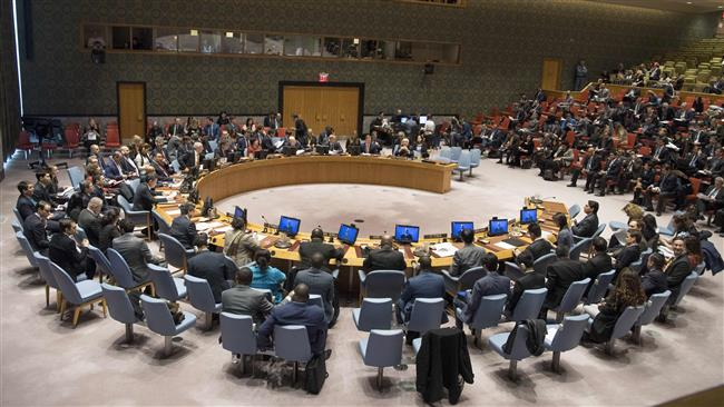 The photo shows a view of the United Nations Security Council in session.