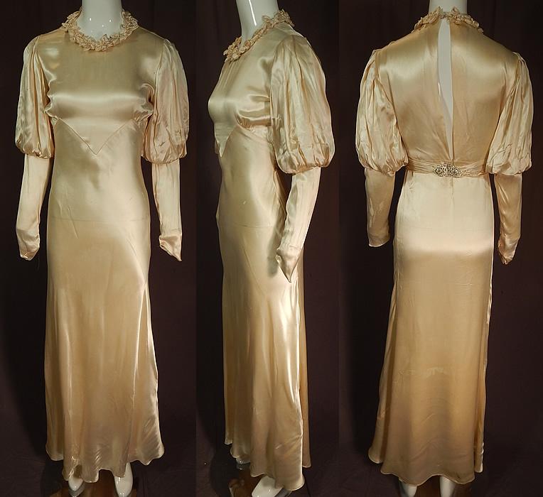 Vintage 1930s Cream Silk Charmeuse Mutton Sleeve Bias Cut Wedding Gown Dress  eBay