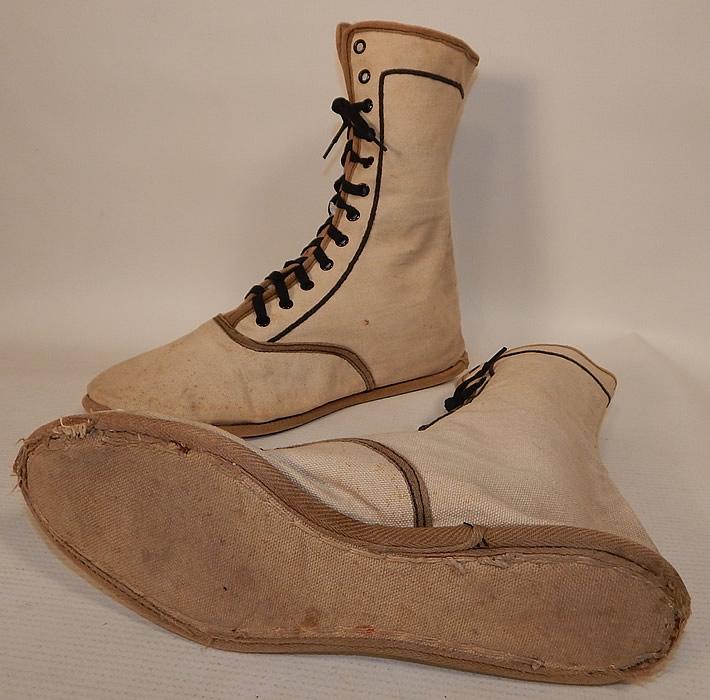 Edwardian Ecru Cream Cotton Canvas Sporting Swim Shoes