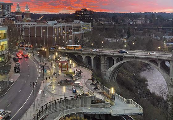 Spokane's new riverfront viewing plaza.