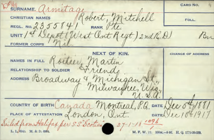 Information card showing Mr. Roitier as next-of-kin.