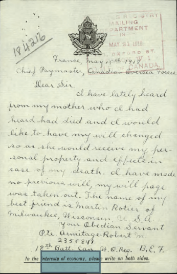 Letter to Chief Paymaster indicating Pte. Armitage mother is alive and he wishes to change his will.