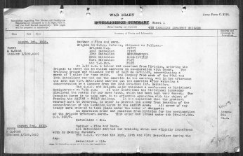 4th Canadian Infantry Brigade War Diary for August 1, 1918