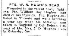 News clipping re. Private Hughes