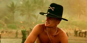 """Robert Duvall as Lieutenant-Colonel Kilgore. The war loving commander who uses technology to defeat the enemy but to isolate himself from the violence. Watching from afar he remarks with deep melancholy: """"Some day this war is gonna end."""""""
