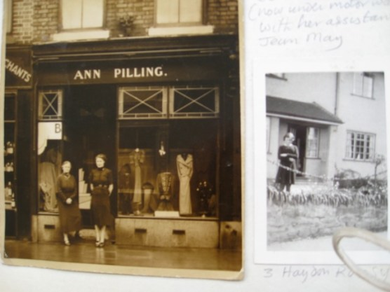 """23 Gilda Brook road about 1938-1945 mother with her assistant Jean May outside her """"boutique"""""""