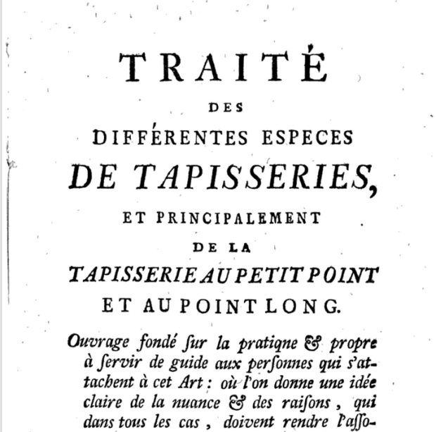 """Frontmatter for Traites des Differentes Especes de Tapisseries, translated as """"a treatise of the different types of tapestries"""""""