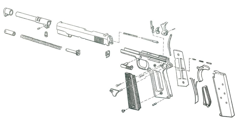 medium resolution of 1911 pistol exploded view 2