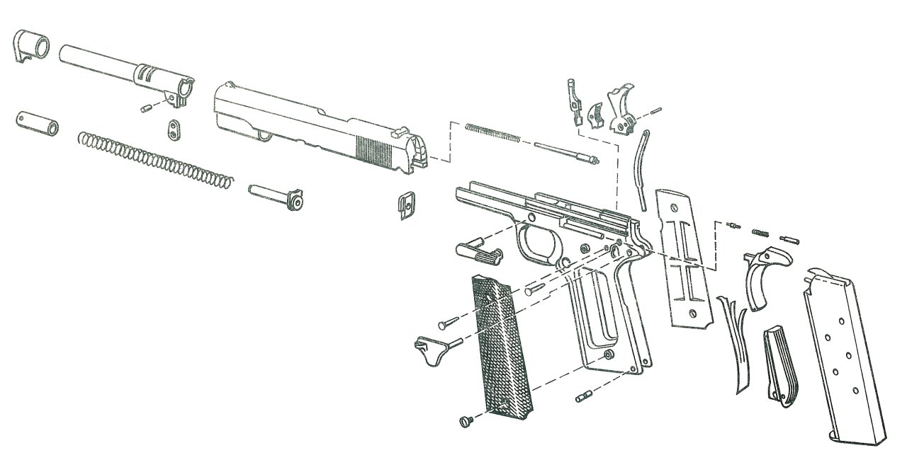 hight resolution of 1911 pistol exploded view 2