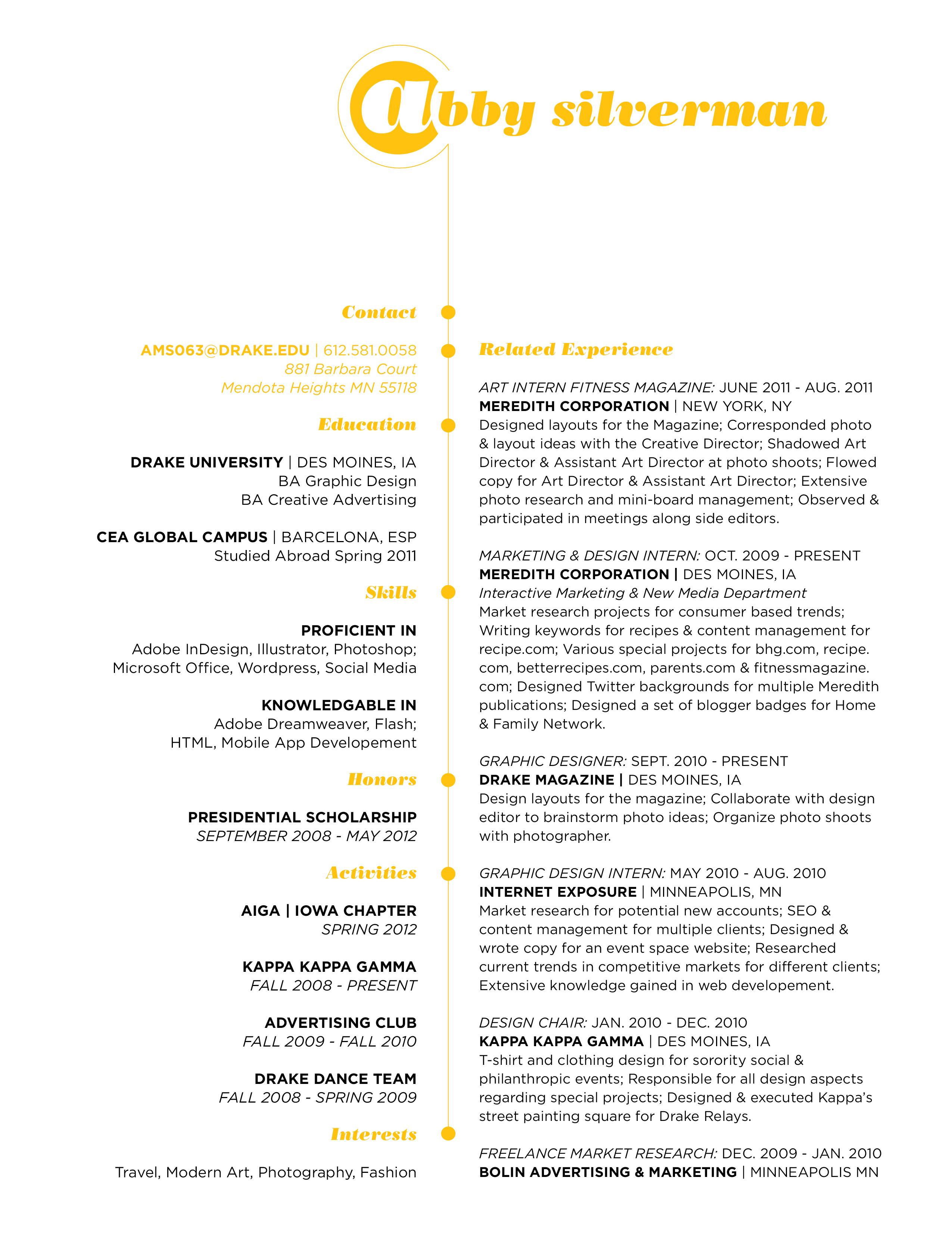 Resume and Cover Letter Design Update  Art 191 Graphic Design Capstone