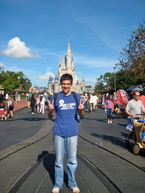 Louis in front of Cinderella Castle in 2008 - he looks SO young!