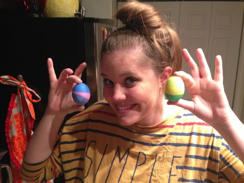 So proud of my striped eggs...and WHACKO hair.