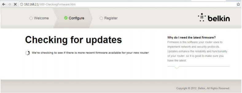 Imagem da tela de atualização de firmware do roteador belkin